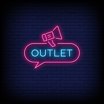 Outlet neon signs style text vector