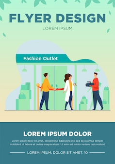Outlet opening ceremony. man cutting red ribbon, journalist, cameraman flat vector illustration. fashion news, reportage, shopping concept for banner, website design or landing web page