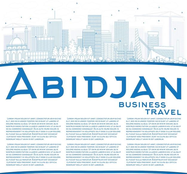 Очертите горизонт абиджана с синими зданиями и копией пространства. векторные иллюстрации. деловые поездки и концепция туризма с современной архитектурой. изображение для презентационного баннера и веб-сайта.