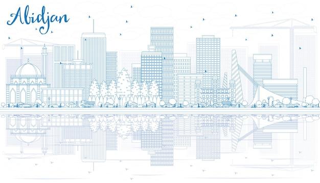 青い建物と反射でアビジャンのスカイラインの概要を説明します。ベクトルイラスト。近代建築とビジネス旅行と観光の概念。プレゼンテーションバナープラカードとwebサイトの画像。