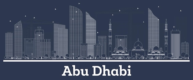Outline abu dhabi uae city skyline with white buildings