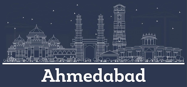 Outline ahmedabad india city skyline with white buildings. vector illustration. business travel and tourism concept with modern architecture. ahmedabad cityscape with landmarks.