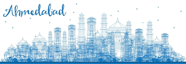 Outline ahmedabad skyline with blue buildings. vector illustration. business travel and tourism concept with historic buildings. image for presentation banner placard and web site. Premium Vector