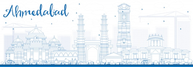 Outline ahmedabad skyline with blue buildings.