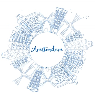 Outline amsterdam city skyline with blue buildings and copy space.