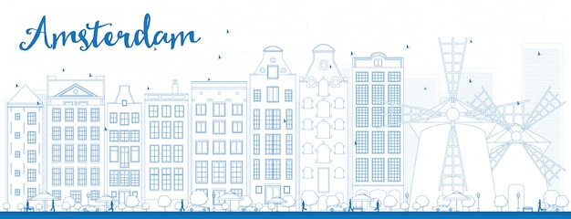 Outline amsterdam city skyline with blue buildings