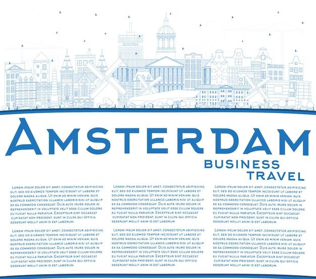 파란색 건물 및 복사 공간이 있는 암스테르담 네덜란드 도시 스카이라인 개요. 벡터 일러스트 레이 션. 역사적인 건축과 비즈니스 여행 및 관광 개념. 랜드마크가 있는 암스테르담 풍경.