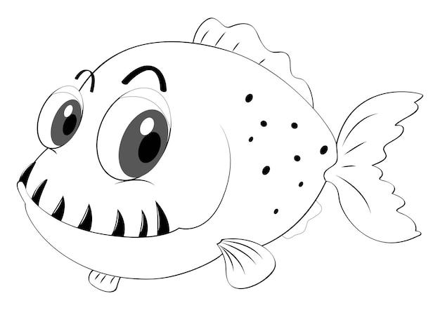Animale di contorno per pesci con denti aguzzi