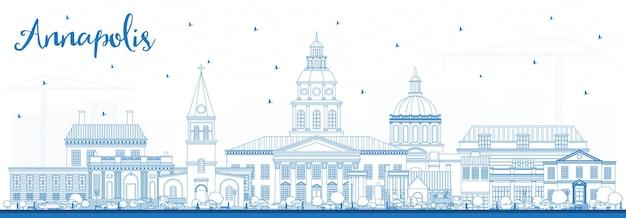 Очертите горизонт аннаполиса мэриленда с голубыми зданиями. векторные иллюстрации. деловые поездки и концепция туризма с исторической архитектурой. городской пейзаж аннаполиса сша с достопримечательностями.