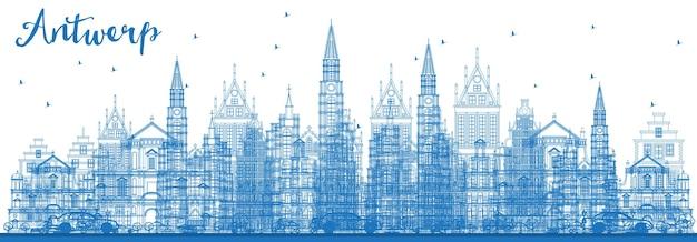 Наброски на фоне линии горизонта города антверпен бельгия с голубыми зданиями. векторные иллюстрации. деловые поездки и концепция туризма с исторической архитектурой. городской пейзаж бельгии с достопримечательностями.