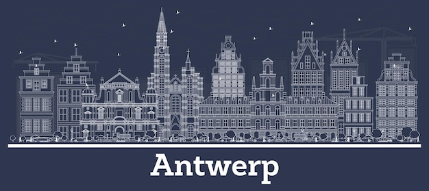 흰색 건물 개요 앤트워프 벨기에 도시의 스카이 라인