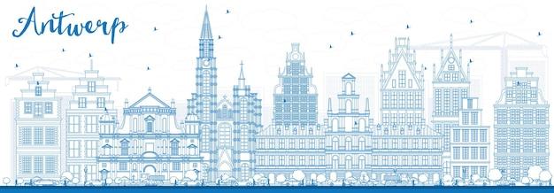 Очертите горизонт антверпена с синими зданиями. векторные иллюстрации. деловые поездки и концепция туризма с исторической архитектурой. изображение для презентационного баннера и веб-сайта.