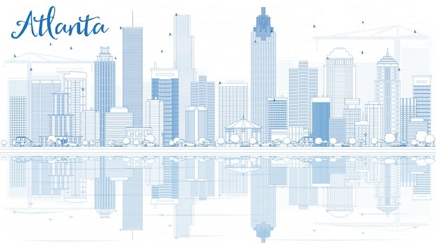 Outline atlanta skyline with blue buildings and reflections.