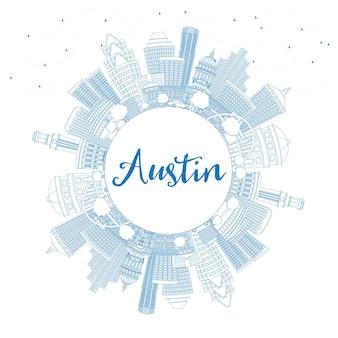 青い建物とコピースペースでオースティンのスカイラインの輪郭を描きます。ベクトルイラスト。近代建築とビジネス旅行と観光の概念。プレゼンテーションバナープラカードとwebサイトの画像。