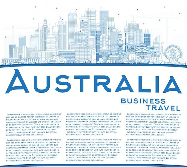 Очертите горизонт города австралии с синими зданиями и копией пространства. векторные иллюстрации. концепция туризма с исторической архитектурой. городской пейзаж австралии с достопримечательностями. сидней. мельбурн. канберра.