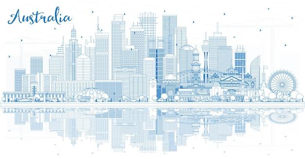 Очертите горизонт австралии с голубыми зданиями и отражениями. векторные иллюстрации. концепция туризма с исторической архитектурой. городской пейзаж австралии с достопримечательностями. сидней. мельбурн. канберра.
