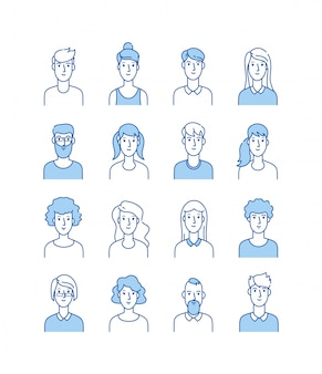 アバターの概要を説明します。笑顔の若者アイコンユーザーライン男性女性匿名顔男性女性かわいい男webアバタープロファイルセット