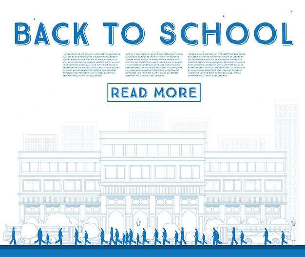 Outline back to school. banner with school bus, building and students. vector illustration.