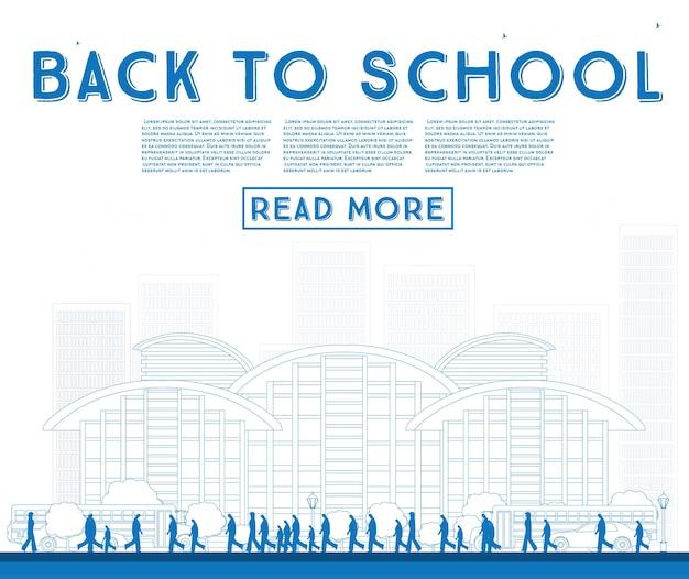 학교로 돌아가기 개요. 학교 버스, 건물 및 학생 배너. 벡터 일러스트 레이 션.