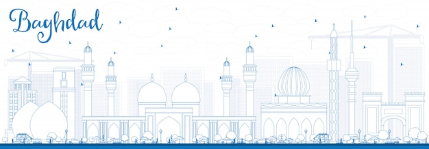 Outline baghdad skyline with blue buildings banner background