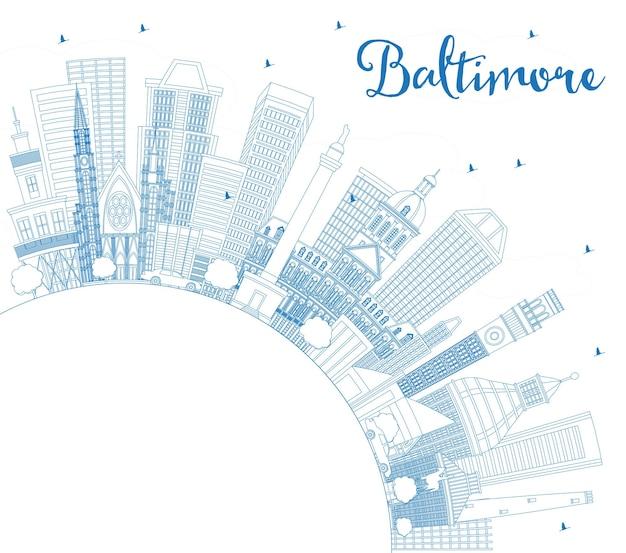 파란색 건물 및 복사 공간이 있는 볼티모어 메릴랜드 미국 도시 스카이라인 개요. 벡터 일러스트 레이 션. 현대 건축과 비즈니스 여행 및 관광 개념입니다. 랜드마크가 있는 볼티모어 도시 풍경.