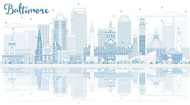 파란색 건물과 반사가 있는 볼티모어 스카이라인 개요. 벡터 일러스트 레이 션. 현대 건축과 비즈니스 여행 및 관광 개념입니다.