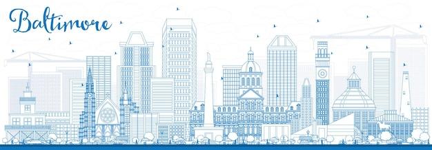 파란색 건물이 있는 볼티모어 스카이라인 개요. 벡터 일러스트 레이 션. 현대 건축과 비즈니스 여행 및 관광 개념입니다. 프레젠테이션 배너 현수막 및 웹사이트용 이미지.