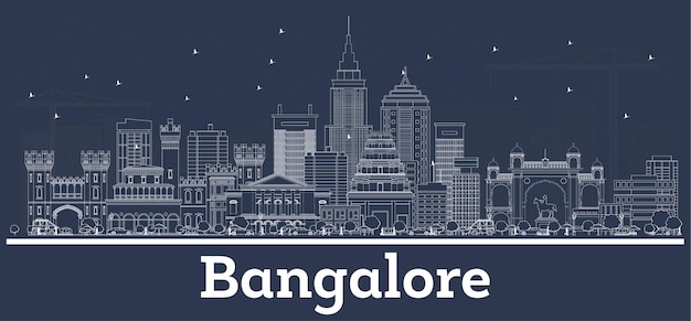Outline bangalore india city skyline with white buildings