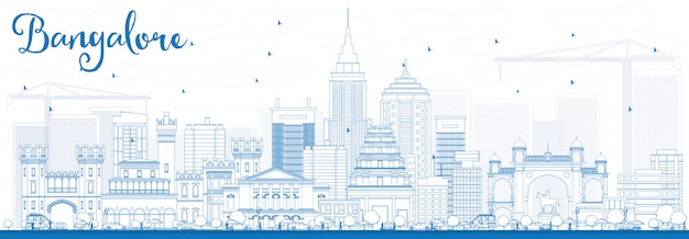 Outline bangalore skyline with blue buildings.