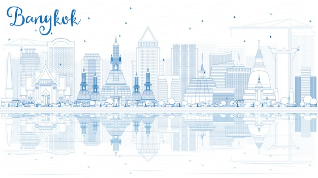 Outline bangkok skyline with blue landmarks and reflections.