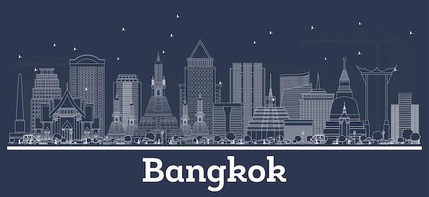 白い建物でバンコクタイの街のスカイラインの概要を説明します。ベクトルイラスト。歴史的な建築とビジネス旅行と観光の概念。ランドマークのあるバンコクの街並み。