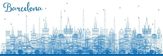 파란색 건물이 있는 바르셀로나 스카이라인 개요. 벡터 일러스트 레이 션. 역사적인 건물과 비즈니스 여행 및 관광 개념입니다. 프레젠테이션 배너 현수막 및 웹사이트용 이미지.