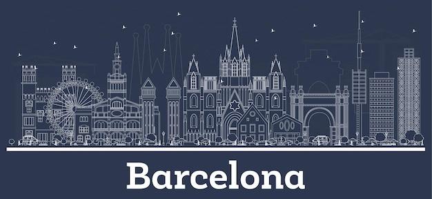 白い建物でバルセロナスペインの街のスカイラインの概要を説明します。図