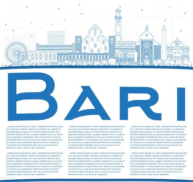 파란색 건물 및 복사 공간이 있는 바리 이탈리아 도시 스카이라인 개요. 벡터 일러스트 레이 션. 현대 건축과 비즈니스 여행 및 관광 개념입니다. 랜드마크가 있는 바리 도시 풍경.