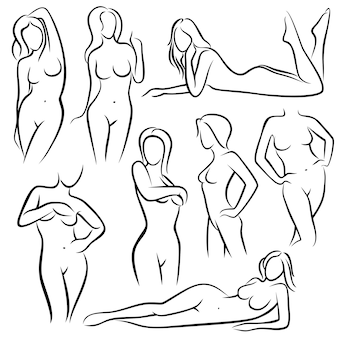Outline beautiful woman silhouettes.