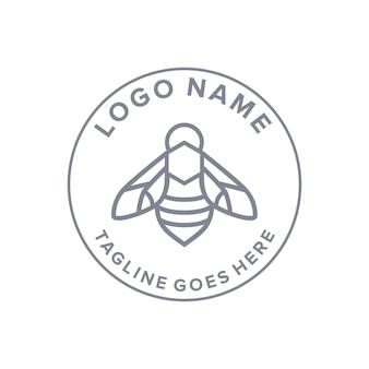 Outline bee circle emblem vintage retro logo design