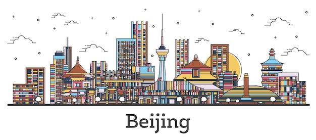 Наброски горизонта города китая пекин с цветными зданиями, изолированные на белом. векторные иллюстрации. городской пейзаж пекина с достопримечательностями.