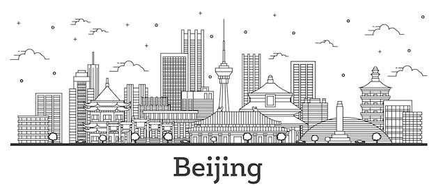 Наброски skyline пекин китай с современными зданиями, изолированные на белом. векторные иллюстрации. городской пейзаж пекина с достопримечательностями.