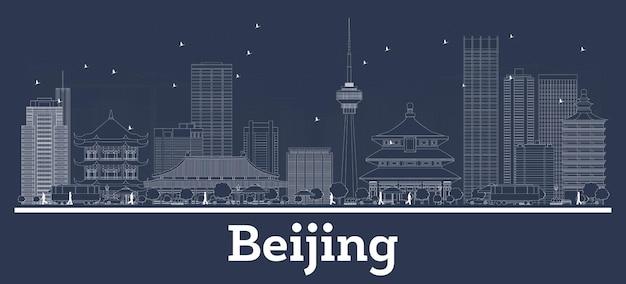 Очертите горизонт пекина, китая, с белыми зданиями. векторные иллюстрации. деловые поездки и концепция с современной архитектурой. городской пейзаж пекина с достопримечательностями.