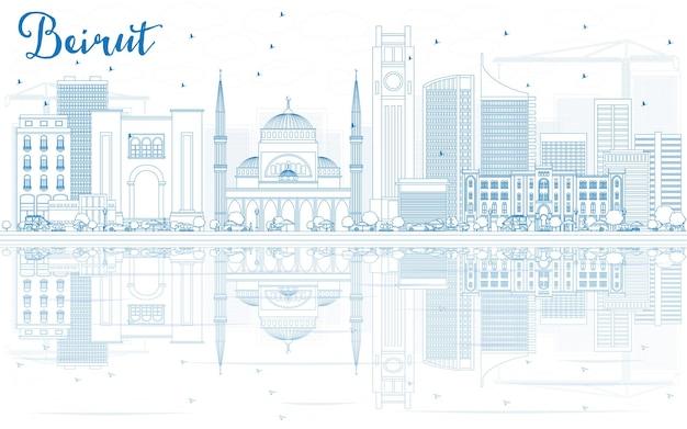 青い建物と反射でベイルートのスカイラインの輪郭を描きます。ベクトルイラスト。近代建築とビジネス旅行と観光の概念。プレゼンテーションバナープラカードとwebサイトの画像。