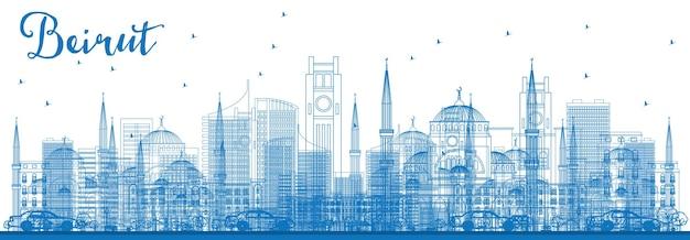 파란색 건물이 있는 개요 베이루트 스카이라인. 벡터 일러스트 레이 션. 현대 건축과 비즈니스 여행 및 관광 개념입니다. 프레젠테이션 배너 현수막 및 웹사이트용 이미지.