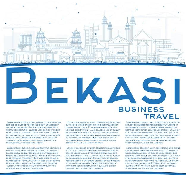 파란색 건물 및 복사 공간이 있는 bekasi 인도네시아 도시 스카이라인 개요. 벡터 일러스트 레이 션. 역사적인 건축과 비즈니스 여행 및 관광 개념입니다. 랜드마크가 있는 베카시 풍경.