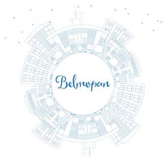 Outline belmopan skyline with blue buildings and copy space. vector illustration. business travel and tourism concept with modern architecture. image for presentation banner placard and web site.