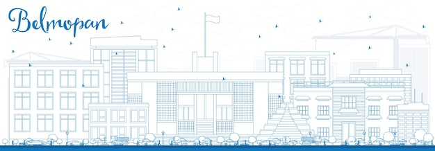 Outline belmopan skyline with blue buildings. vector illustration. business travel and tourism concept with modern architecture. image for presentation banner placard and web site.