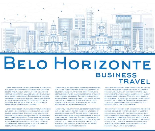 Outline belo horizonte skyline with blue buildings, tex template