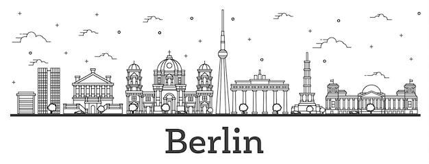 Наброски горизонт города берлин германия с историческими зданиями, изолированные на белом. векторные иллюстрации. городской пейзаж берлина с достопримечательностями.