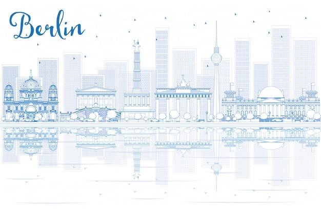 Контур горизонта берлина с голубыми зданиями и отражениями.