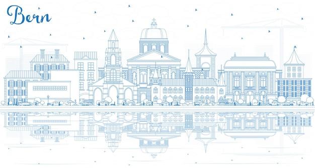 파란색 건물 및 복사 공간이 있는 베른 스위스 도시 스카이라인 개요. 벡터 일러스트 레이 션. 역사적인 건축과 비즈니스 여행 및 관광 개념입니다. 랜드마크가 있는 베른 도시 풍경.
