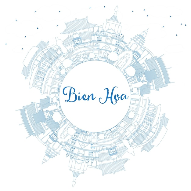 파란색 건물과 복사 공간이 있는 비엔 호아 베트남 도시 스카이라인 개요. 벡터 일러스트 레이 션. 역사적인 건축과 비즈니스 여행 및 관광 개념입니다. 랜드마크가 있는 비엔호아 도시 풍경.