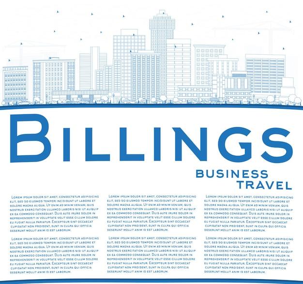 Наброски на фоне линии горизонта города биллингс монтана с синими зданиями и копией пространства. векторные иллюстрации. деловые поездки и концепция туризма с современной архитектурой. городской пейзаж сша биллингс с достопримечательностями.